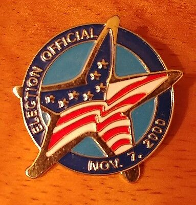 Election Official Officer 2000 Badge Golden Metal Lapel Pin