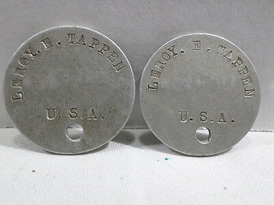 WWI VINTAGE US Army Matching Dog Tags Leroy E Tappen