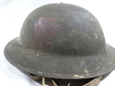 WWI VINTAGE US Army 28th Infantry Division Helmet Painted Blood Bucket Keystone