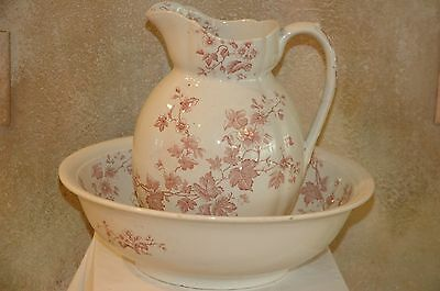 Large Victorian Red White Phoenix Pottery Pitcher And Wash Basin England