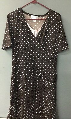 MotherWear Brown & Pink Polka Dot Maternity Dress      C