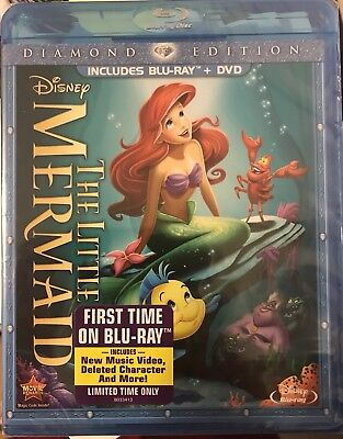 The Little Mermaid (Blu-ray/DVD, 2013, 2-Disc, Diamond Edition) NEW Disney OOP