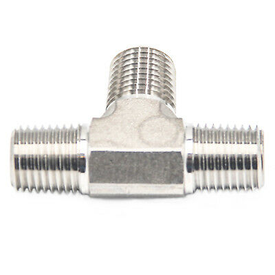 """HFS(R) 1/4"""" Npt Tee Fitting - Male Mnpt 3-Way Tee Stainless"""