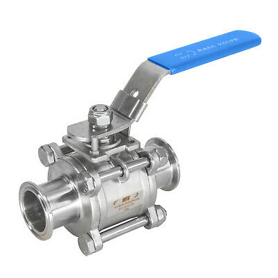 "HFS 1"" Tri Clamp Sanitary Ball Valve Tri Clover Stainless Steel 304 Ptfe Lined"