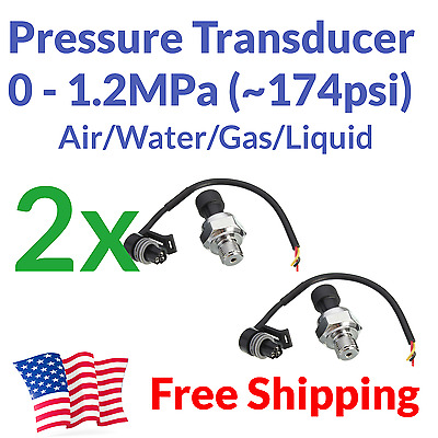 2pcs Pressure Transducer Electronic Gauge Meter - Air Gas Water Fuel Arduino 5V