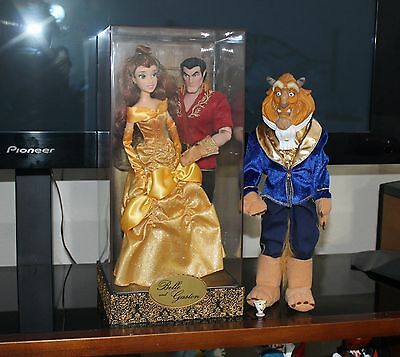 Disney beauty and the beast Fairytale Designer Doll GASTON & Belle & Beast Lot