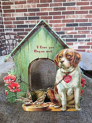 Vintage 1930s German Embossed 2-Layer Valentine Card,Dog,Doghouse,Real Chain,10""