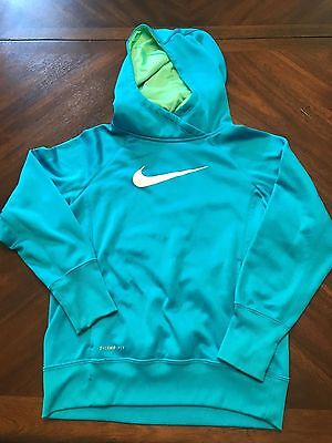Nike Therma-fit Hoodie Sweatshirt Blue White Green Youth Girls Size L Large