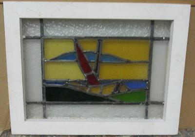 """OLD ENGLISH LEADED STAINED GLASS WINDOW Abstract Boat Scene 20.75"""" x 16"""""""