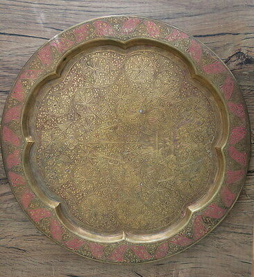"""Antique Cairo Middle Eastern Med Brass Table Tray W Pink & Copper Inlay 15"""""""