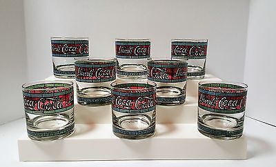 8 Vintage Coca Cola Glasses Tiffany Decorated Stained Glass Small 6 oz Size EUC!