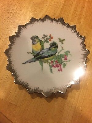 "Vintage 6"" Bird decorative collectible Japan wall plate Silver"