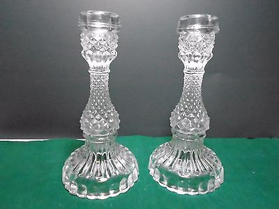 Cut Glass  Crystal Glass Vintage Glass Candle Sticks