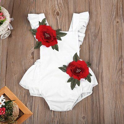 Summer Newborn Baby Girl Outfits Clothes Floral Romper Jumpsuit Bodysuit Sunsuit