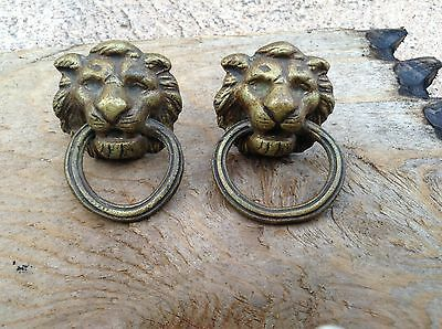 Antique Brass Lion Head Drawer Pulls Pair Salvage Not From China