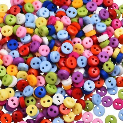 600Pcs Round Button 2 Holes Mixed Color Apparel Sewing Random Craft 6mm