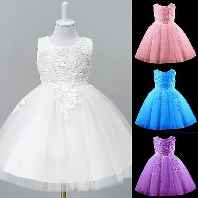 UK Kid Girl Flower Wedding Bridesmaid Dress Party Pageant Prom Christening Dress