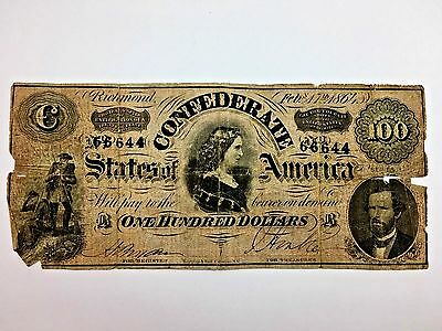 1864 One Hundred Dollar Confederate Note $100 Currency Paper Money Bill T-65