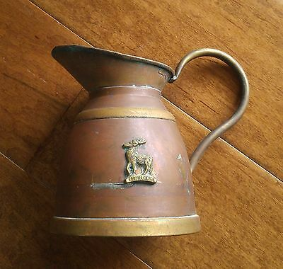 Vintage Primitive Copper and Brass Pitcher Porlock Jug Rustic Pot Elk Emblem