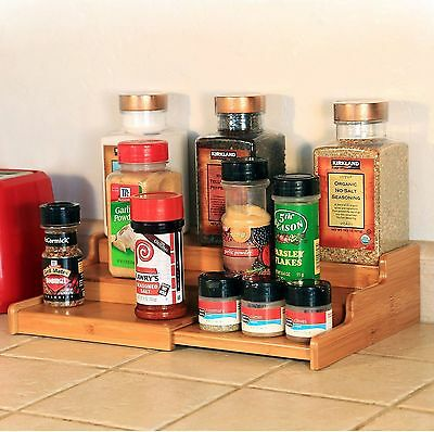 3 Tier Expandable Bamboo Spice Rack Step Shelf Organiser for Spices Bottles Oils