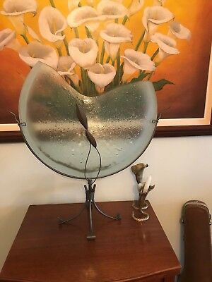 Modernist Vase Center Piece Demi Lune Half Moon Shape Glass On Wrought Iron Huge