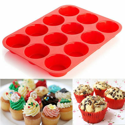12 Cups Silicone Round Cup Cake Pan Non-Stick Muffin Pudding Mould Bakewa Mold