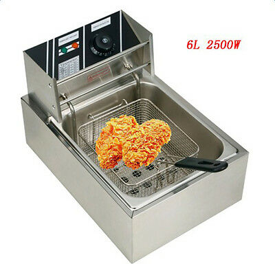 2.5KW 6L Horizontal Bar Electric Deep Fryer 110V Single Tank Commercial Fryers