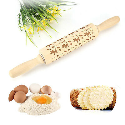 Dog Pattern Natural Wooden Rolling Pin Dough Pastry Cake Noodles Kitchen Tool AF