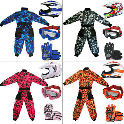 LEOX18/X16 Kids Motocross Camo Suit + LEO Junior MX Youth Helmet Gloves Goggles