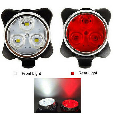 3 Led Cycling Bicycle Bike Head Front Rear Light Tail Clip USB Rechargeable
