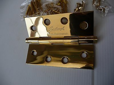 12 x Quality Gainsborough Architectural Butt Hinge 100x75x2.5  Polished Brass LP