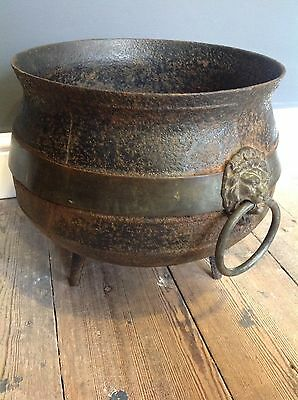 Vintage Antique 19th Century Cast Iron Pot Brass Lion Mask Handles