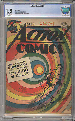 Action Comics # 89  Classic Rainbow cover !  CBCS 1.8 rare Golden Age book !