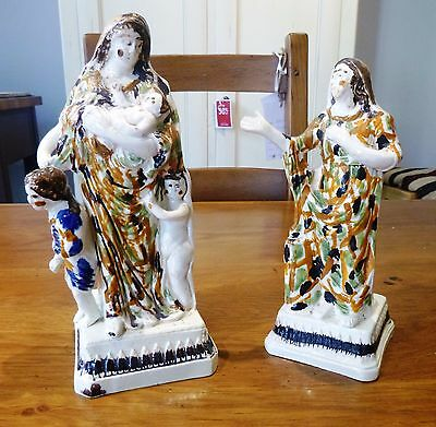 Prattware Figures of Faith & Charity from Herculaneum Pottery Liverpool 1790