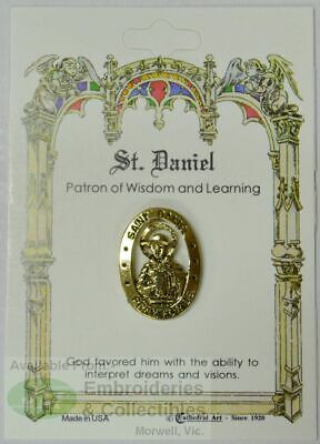 St. Daniel Lapel Pin, Gold Tone, Patron of Wisdom and Learning