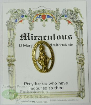 Miraculous Lapel Pin, Gold Tone, O Mary Conceived Without Sin