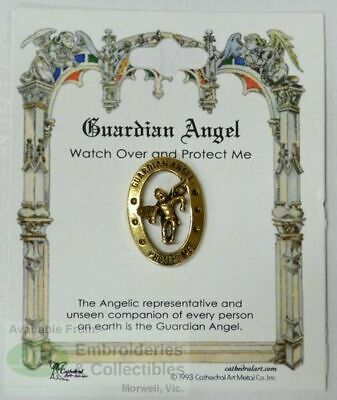 Guardian Angel Lapel Pin, Gold Tone, Watch Over and Protect Me