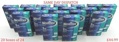 20 BOXES NICOTINELL MINT GUM 2mg Medicated Sugar Free 480 Pieces Stop Smoking