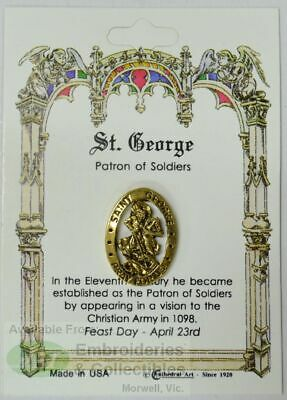 St. George Lapel Pin, Gold Tone, Patron of Soldiers