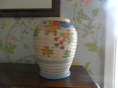 Decoro Pottery Handpainted Ribbed Vase Decorated With Flowers/fruit