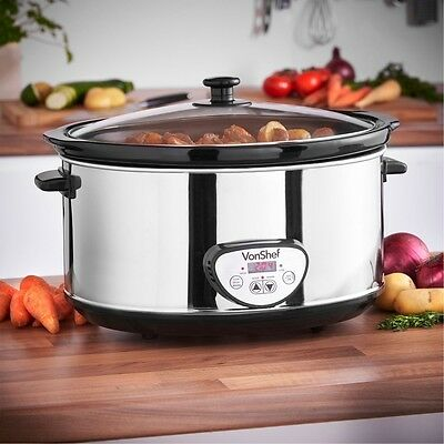 6.5L Digital Slow Cooker Crock-Pot Timer kitchen Oval Pan Pots Cooking Glass Lid
