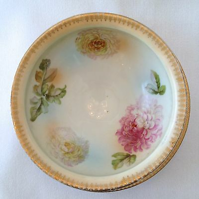 Antique German Porcelain Bowl with Attached Underplate