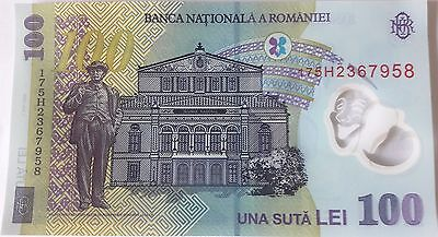 Romania - Unc 100 Lei Banknote Issued 2005 (2017) Polymer #p121 Free Shipping