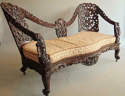 Victorian Anglo Indian Carved Hardwood Settee / Sofa