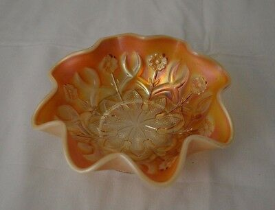 Vintage Dugan Peach Opalescent Carnival Glass Ruffled Bowl - Wishbone & Spades