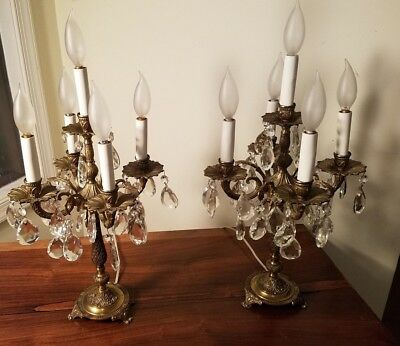 Antique Pair Of 5 Light Brass Candelabra Chandelier Table Lamp W/ Crystal Prisms