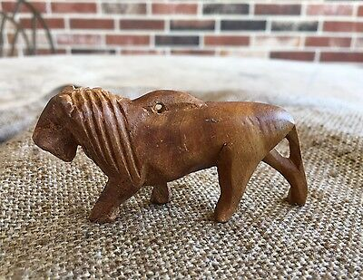 Vintage Folk Art Hand Carved Wooden Olive Wood Lion, Nativity ,Easter Animal