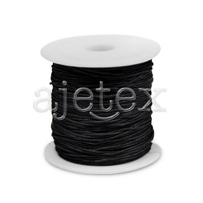 1 Roll 70M Waxed Cotton Cord Jewellery Craft Beading Thread Thong 1x1mm Black