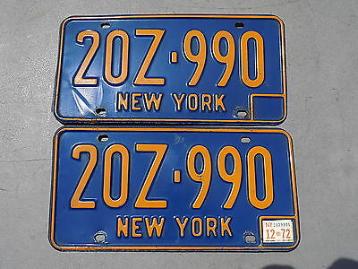 1966 - 1973 New York NY Pair of Rental Car License Plates 20Z-990 DMV Clear 1972