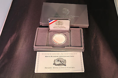 1991-S Mount Rushmore Anniversary Silver Dollar Proof Coin With Box & COA